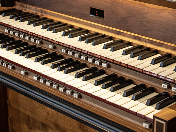 A close up view of our organ's keyboard.