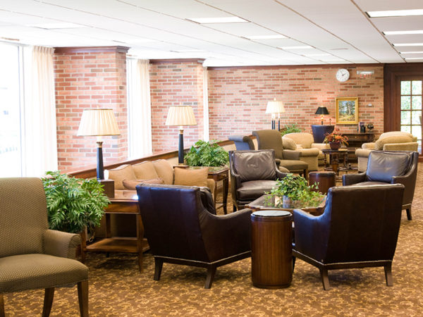 The lobby of the Dow Center